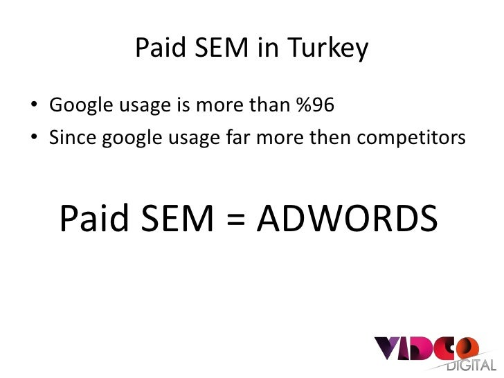 Paid SEM in Turkey• Google usage is more than %96• Since google usage far more then competitors   Paid SEM = ADWORDS