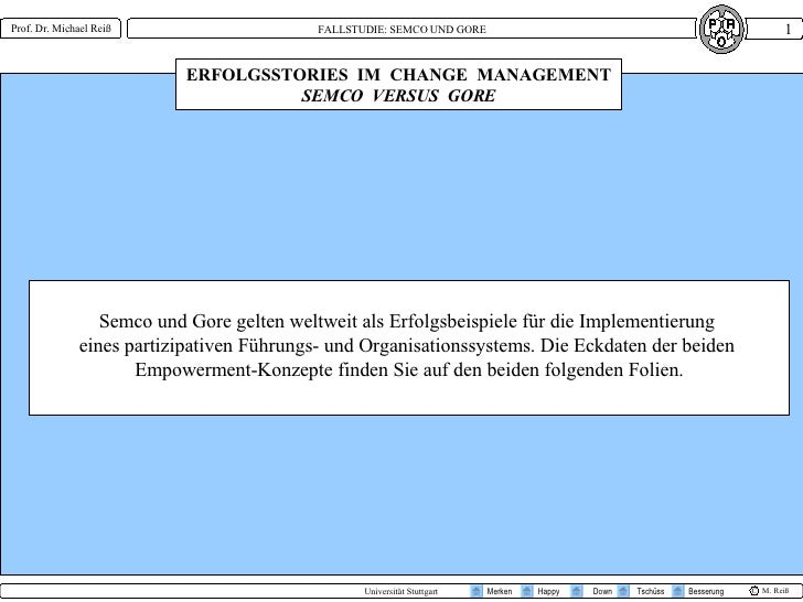 ERFOLGSSTORIES  IM  CHANGE  MANAGEMENT SEMCO  VERSUS  GORE Semco und Gore gelten weltweit als Erfolgsbeispiele für die Imp...