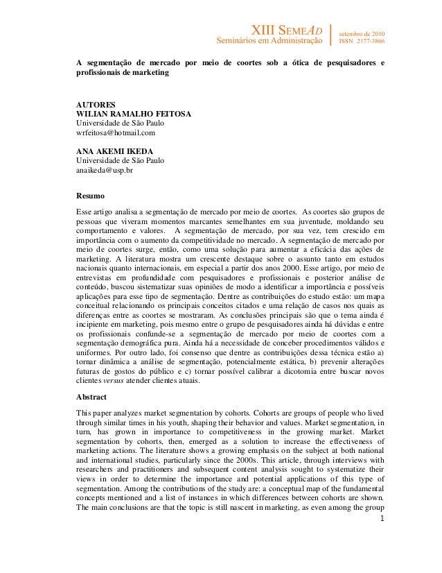 8479431093a50 1A segmentação de mercado por meio de coortes sob a ótica de pesquisadores  eprofissionais de marketingAUTORESWILIAN ...