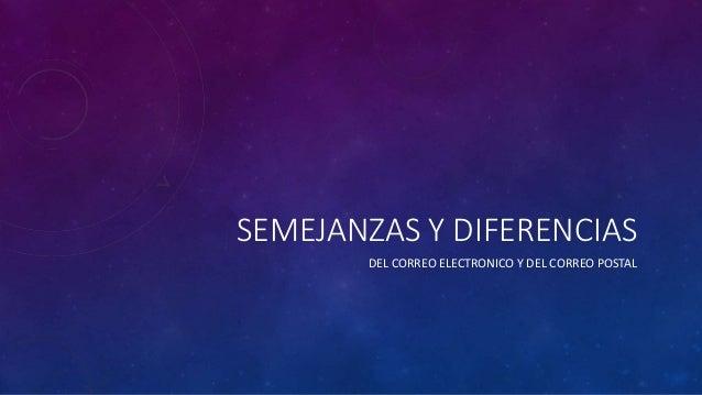 SEMEJANZAS Y DIFERENCIAS DEL CORREO ELECTRONICO Y DEL CORREO POSTAL