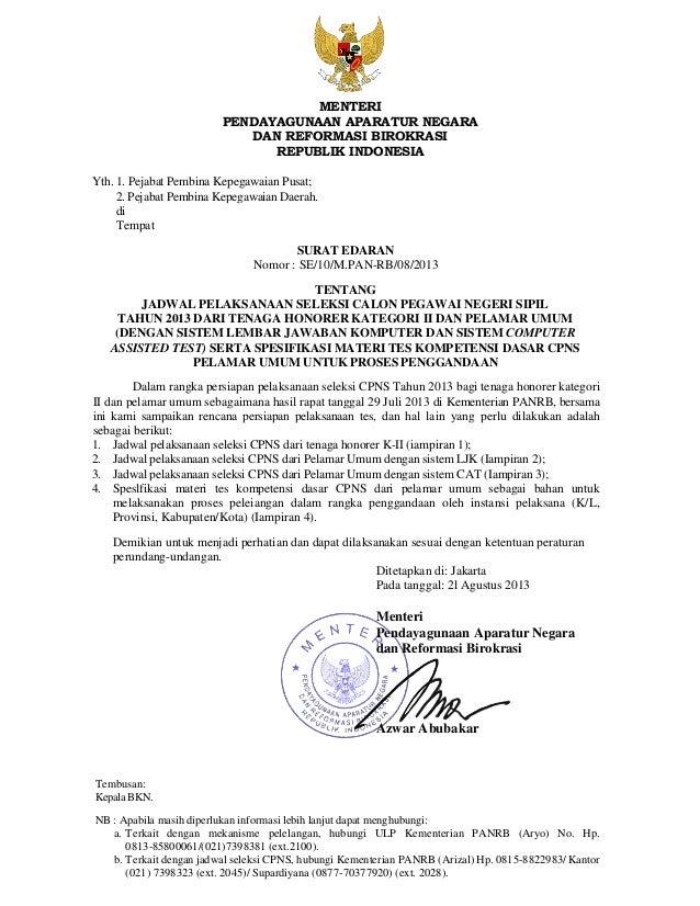 MENTERI PENDAYAGUNAAN APARATUR NEGARA DAN REFORMASI BIROKRASI REPUBLIK INDONESIA Yth. 1. Pejabat Pembina Kepegawaian Pusat...