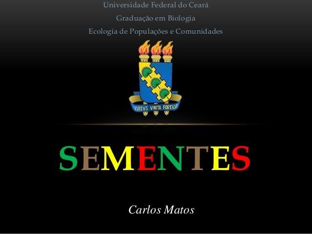 Universidade Federal do Ceará  Graduação em Biologia Ecologia de Populações e Comunidades  SEMENTES Carlos Matos
