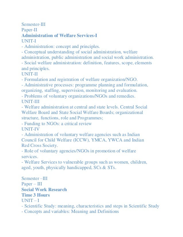 Semester-IIIPaper-IIAdministration of Welfare Services-IUNIT-I- Administration: concept and principles.- Conceptual unders...