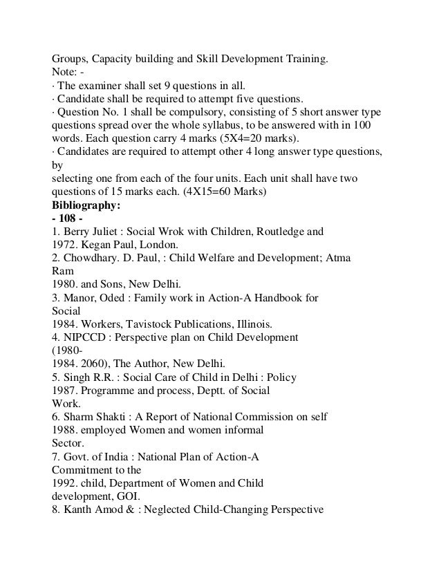 Bibliography:1. Banarjee, G.R.,1950. : Social Service Department in Hospital : ItsOrganization and Functions, Mumbai.2. Co...