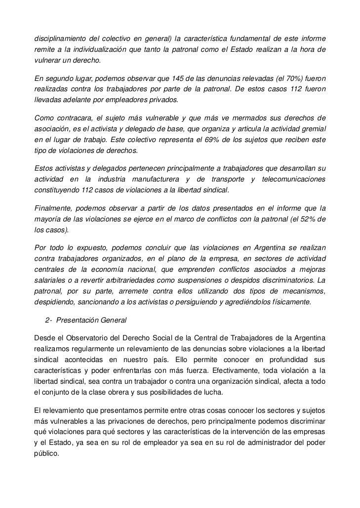 disciplinamiento del colectivo en general) la característica fundamental de este informeremite a la individualización que ...