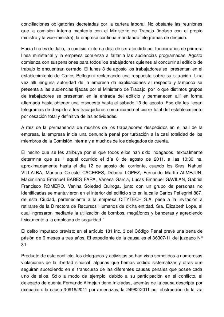 conciliaciones obligatorias decretadas por la cartera laboral. No obstante las reunionesque la comisión interna mantenía c...