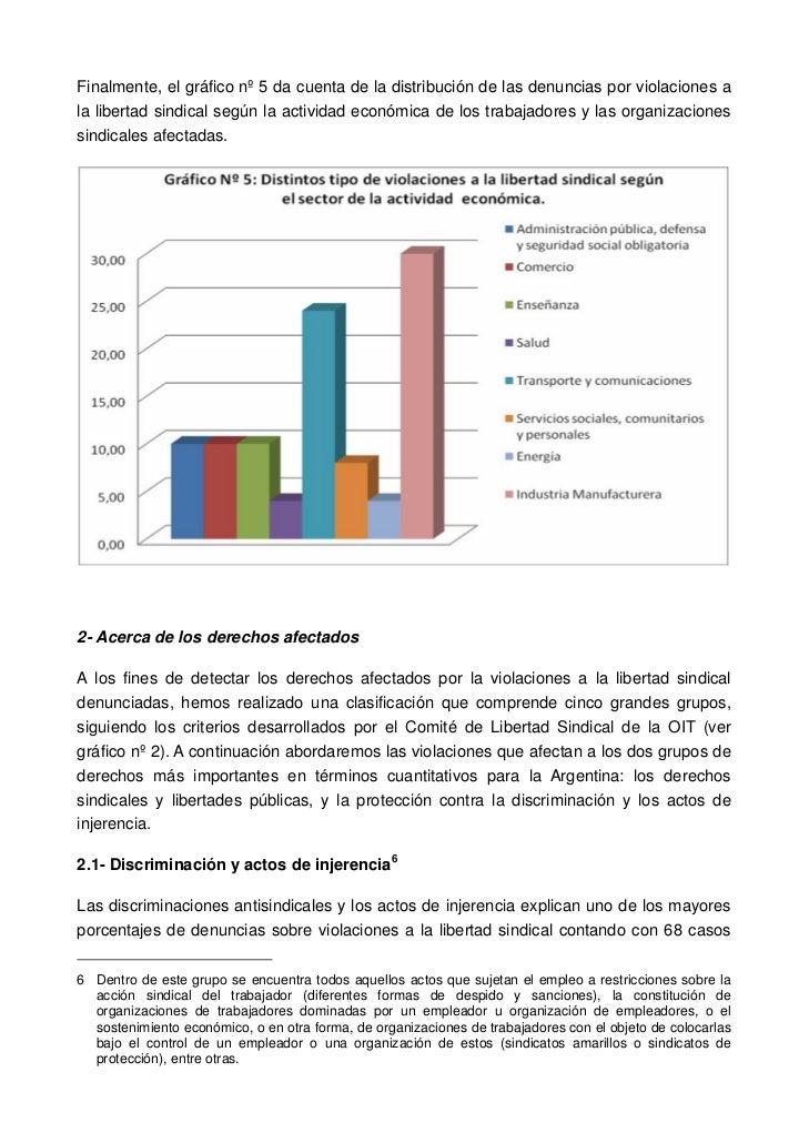Finalmente, el gráfico nº 5 da cuenta de la distribución de las denuncias por violaciones ala libertad sindical según la a...