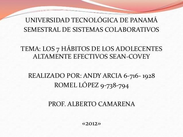 UNIVERSIDAD TECNOLÓGICA DE PANAMÁSEMESTRAL DE SISTEMAS COLABORATIVOSTEMA: LOS 7 HÁBITOS DE LOS ADOLECENTES   ALTAMENTE EFE...