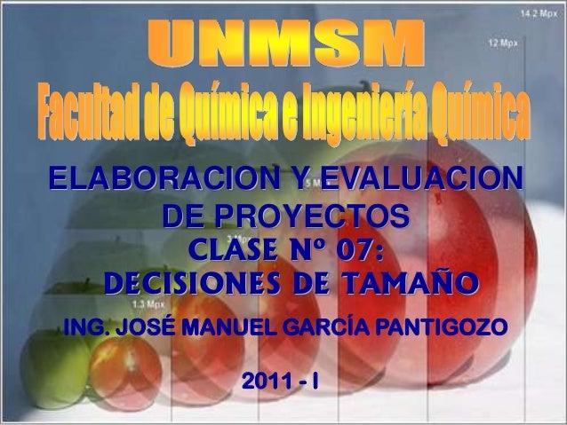 CLASE Nº 07:DECISIONES DE TAMAÑOING. JOSÉ MANUEL GARCÍA PANTIGOZO2011 - IELABORACION Y EVALUACIONDE PROYECTOS