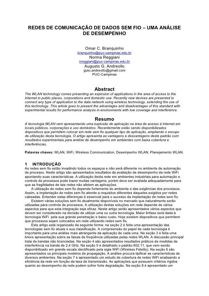 REDES DE COMUNICAÇÃO DE DADOS SEM FIO – UMA ANÁLISE                      DE DESEMPENHO                                    ...