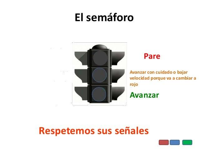 Pare Avanzar con cuidado o bajar velocidad porque va a cambiar a rojo Avanzar El semáforo Respetemos sus señales