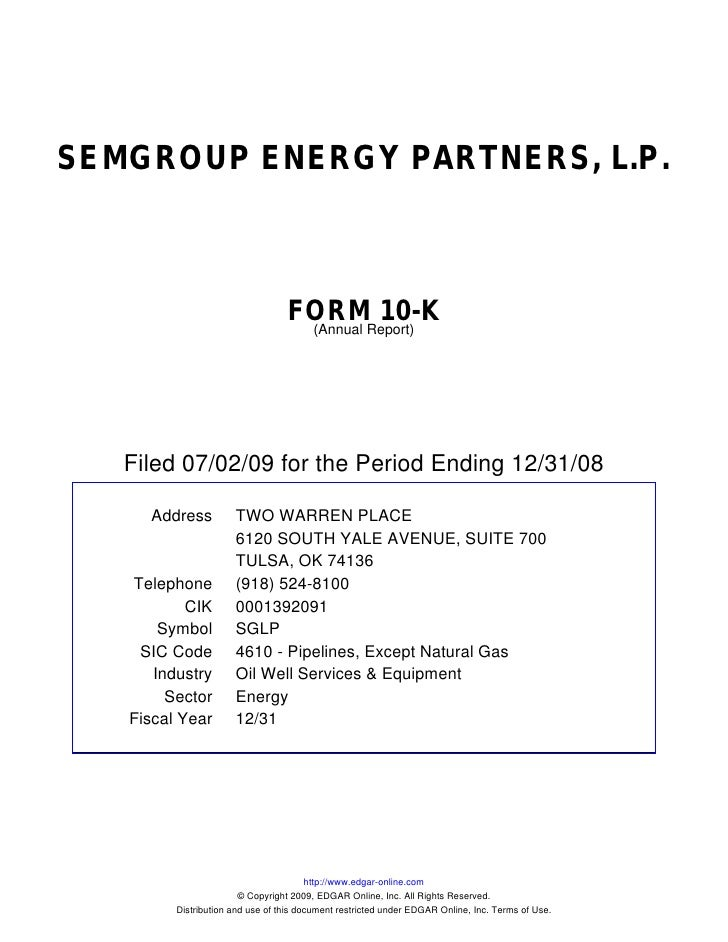 SEMGROUP ENERGY PARTNERS, L.P.                                      FORMReport)                                           ...