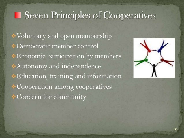 Voluntary and open membership  Democratic member control Economic participation by members Autonomy and independence ...
