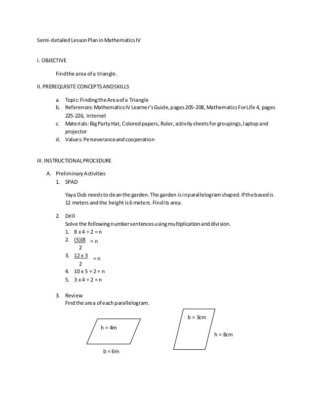 Semi-detailed Lesson Plan in math IV (k-12 based curriculum) \