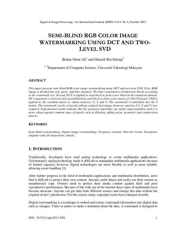Signal & Image Processing : An International Journal (SIPIJ) Vol.4, No.5, October 2013  SEMI-BLIND RGB COLOR IMAGE WATERMA...