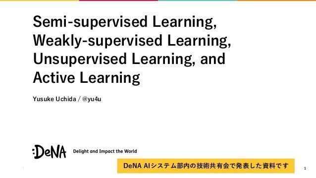 Semi-supervised Learning, Weakly-supervised Learning, Unsupervised Learning, and Active Learning Yusuke Uchida / @yu4u 1De...