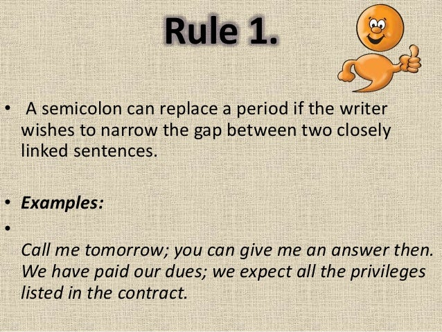 Rules for Semicolon by Jaime Espinosa