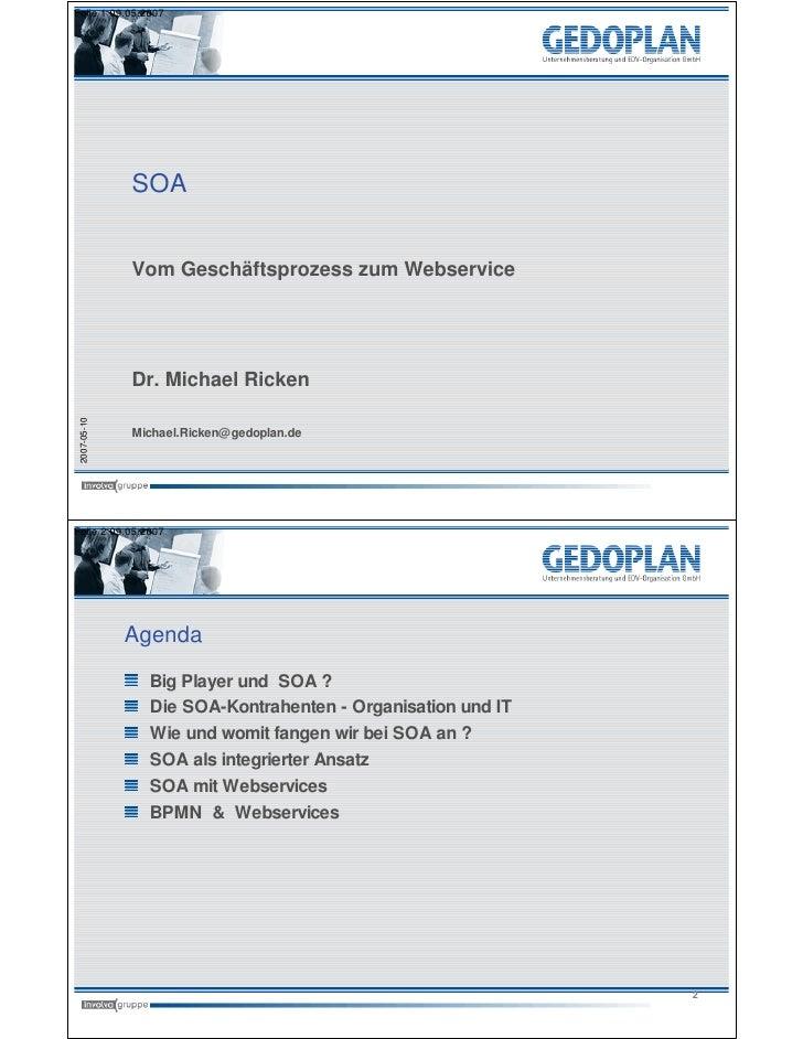 Folie 1 09.05.2007                   SOA                 Vom Geschäftsprozess zum Webservice                   Dr. Michael...