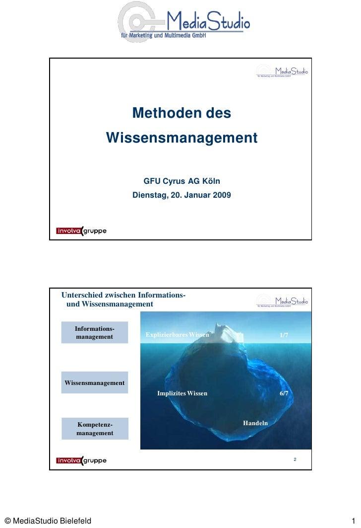 Methoden des                             Wissensmanagement                                       GFU Cyrus AG Köln        ...