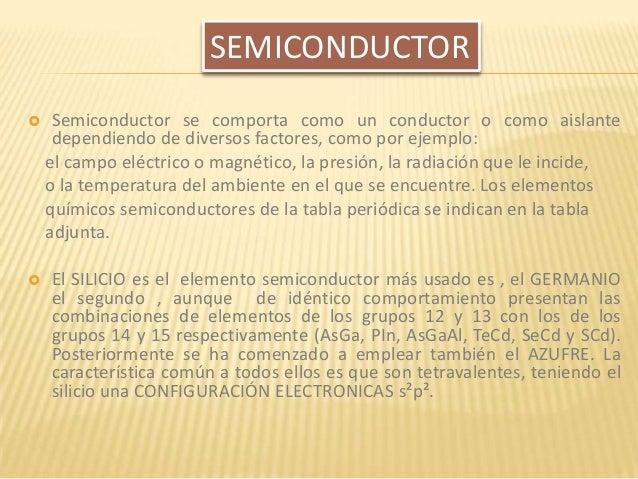  Semiconductor se comporta como un conductor o como aislante dependiendo de diversos factores, como por ejemplo: el campo...