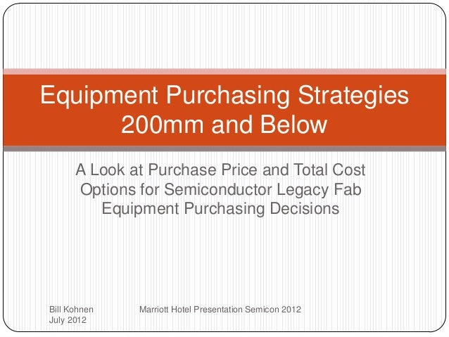 Equipment Purchasing Strategies 200mm and Below A Look at Purchase Price and Total Cost Options for Semiconductor Legacy F...