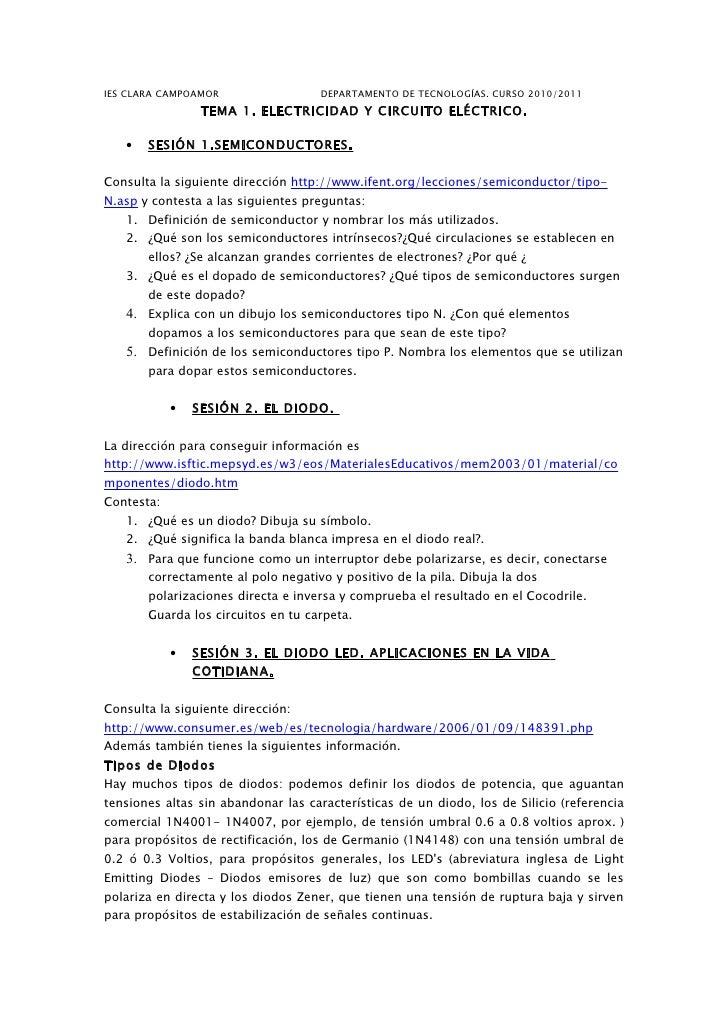 IES CLARA CAMPOAMOR                  DEPARTAMENTO DE TECNOLOGÍAS. CURSO 2010/2011                  TEMA 1. ELECTRICIDAD Y ...
