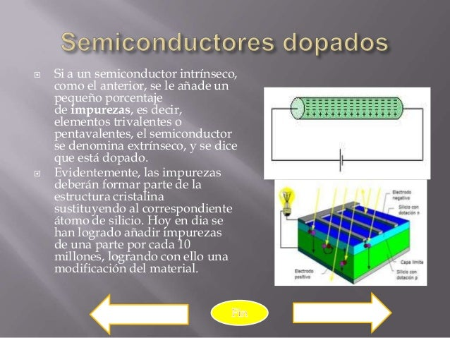    Si a un semiconductor intrínseco,    como el anterior, se le añade un    pequeño porcentaje    de impurezas, es decir,...