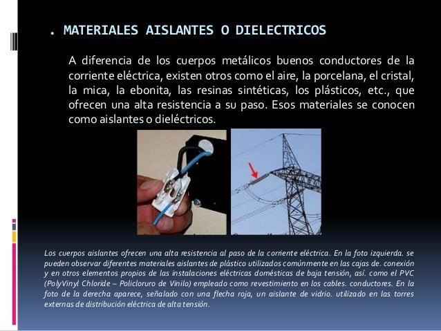 . MATERIALES AISLANTES O DIELECTRICOS       A diferencia de los cuerpos metálicos buenos conductores de la       corriente...