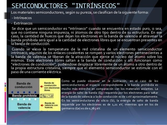 """SEMICONDUCTORES """"INTRÍNSECOS""""Los materiales semiconductores, según su pureza, se clasifican de la siguiente forma: - Intrí..."""