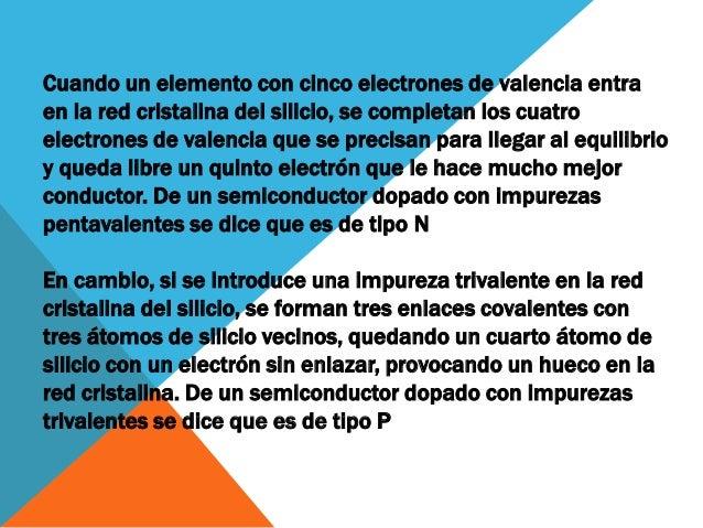 UTILIDAD DEL DOPADO La idea de dopar un semiconductor es variar sus propiedades eléctricas. Los metales conducen a base de...