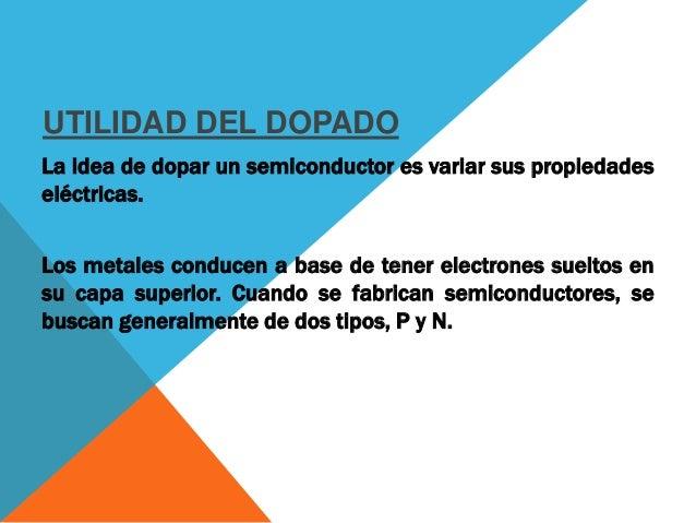 DOPAJE TIPO P Los de tipo P son dopados con otros elementos para que les falten electrones, lo que normalmente se denomina...