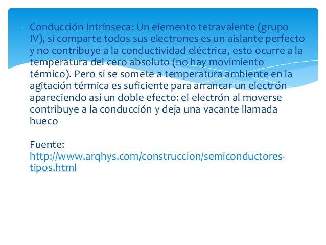 Conducción Intrínseca: Un elemento tetravalente (grupoIV), si comparte todos sus electrones es un aislante perfectoy no co...