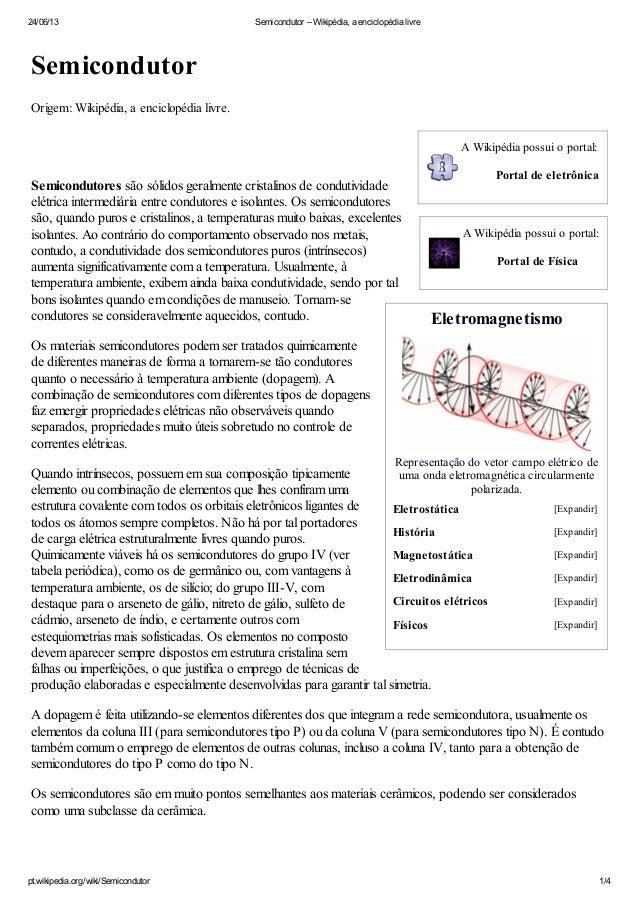 24/06/13 Semicondutor – Wikipédia, a enciclopédia livrept.wikipedia.org/wiki/Semicondutor 1/4A Wikipédia possui o portal:P...