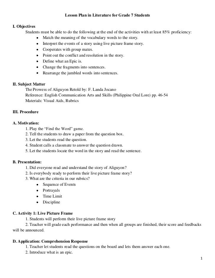 Detailed Lesson Plan For Elementary Grade 1 Lesson Planning Lesson