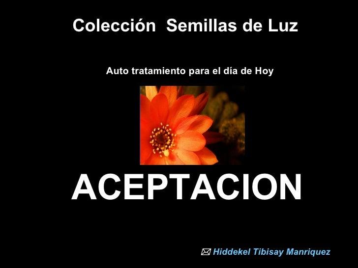 Colección  Semillas de Luz  Auto tratamiento para el día de Hoy   ACEPTACION    Hiddekel   Tibisay   Manriquez