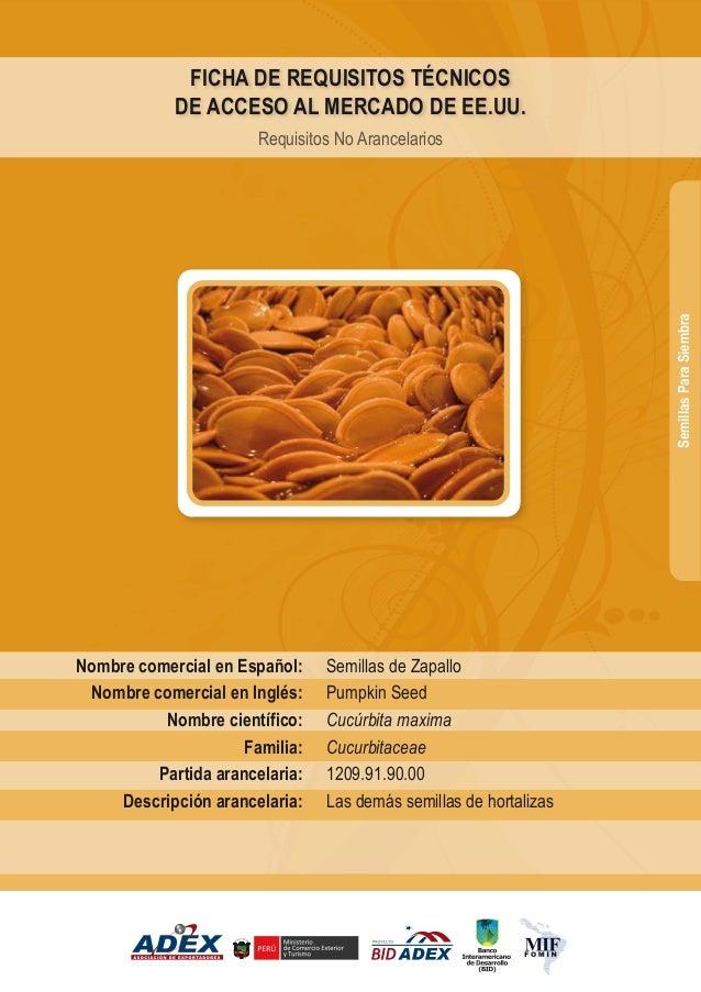 Semillas de Zapallo Pumpkin Seed Cucúrbita maxima Cucurbitaceae 1209.91.90.00 Las demás semillas de hortalizas Nombre come...