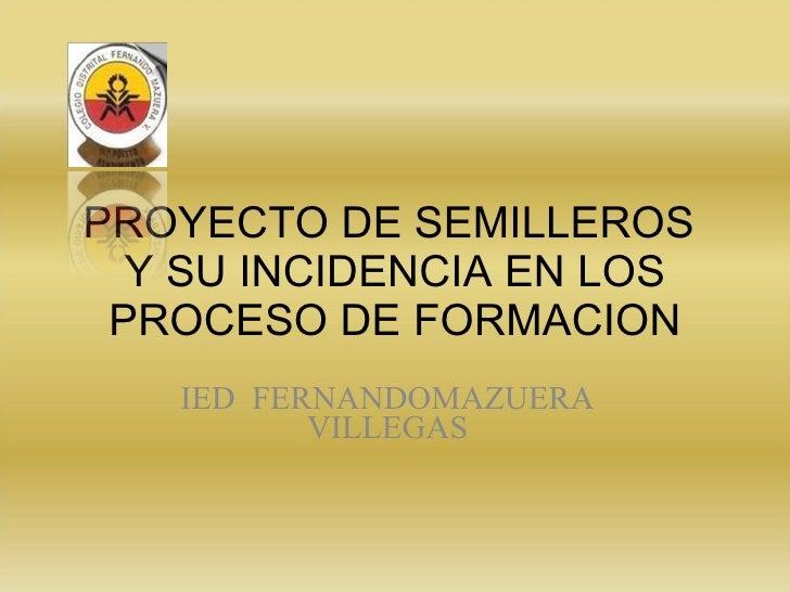 PROYECTO DE SEMILLEROS  Y SU INCIDENCIA EN LOS PROCESO DE FORMACION IED  FERNANDOMAZUERA VILLEGAS