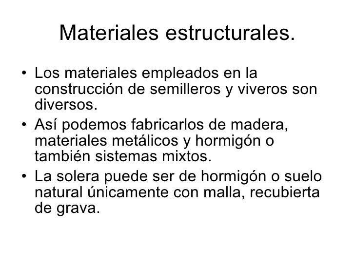 semilleros y viveros instalaciones y materiales empleados