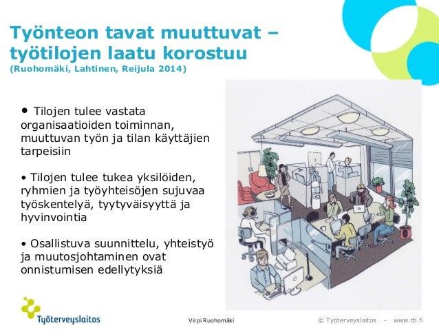 © Työterveyslaitos –www.ttl.fi  Työnteon tavat muuttuvat – työtilojen laatu korostuu(Ruohomäki, Lahtinen, Reijula 2014)  V...