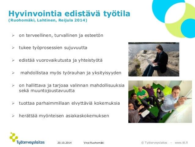 © Työterveyslaitos –www.ttl.fi  Hyvinvointia edistävä työtila(Ruohomäki, Lahtinen, Reijula 2014)  on terveellinen, turval...
