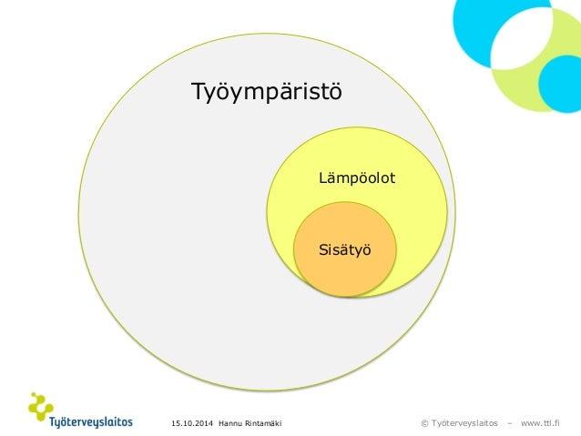 © Työterveyslaitos –www.ttl.fi  Työympäristö  Lämpöolot  Sisätyö  15.10.2014 Hannu Rintamäki