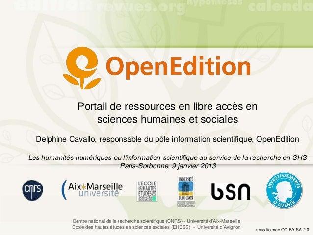Portail de ressources en libre accès en                   sciences humaines et sociales  Delphine Cavallo, responsable du ...
