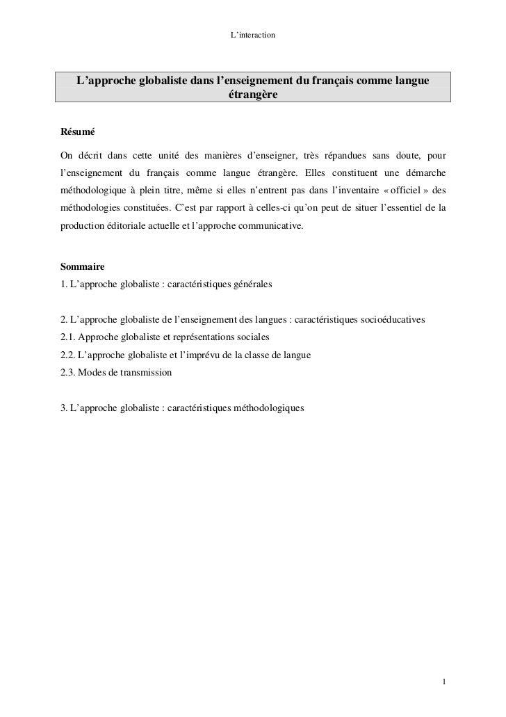 L'interaction    L'approche globaliste dans l'enseignement du français comme langue                                  étran...