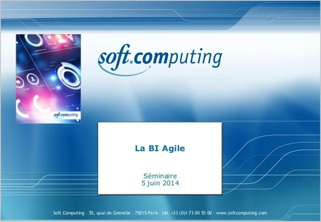 Soft Computing – 55, quai de Grenelle – 75015 Paris – tél. +33 (0)1 73 00 55 00 – www.softcomputing.com La BI Agile Sémina...