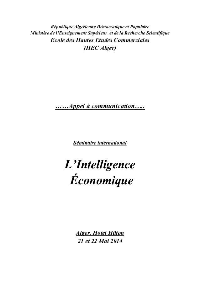 République Algérienne Démocratique et Populaire Ministère de l'Enseignement Supérieur et de la Recherche Scientifique  Eco...
