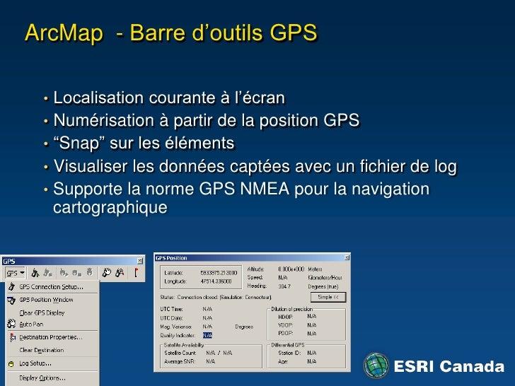 Sécurité</li></li></ul><li>ArcGIS et mobilité<br />ArcGIS Engine<br />ArcGIS Mobile<br />ArcPad<br />8.0<br /><ul><li>Créa...