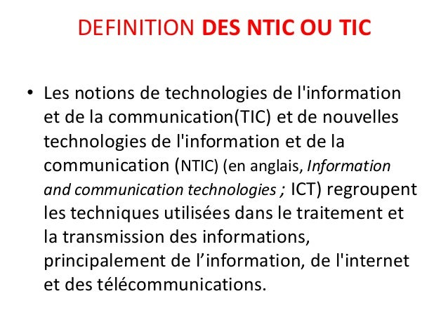 Technologies De Linformation Et De La Communication ...