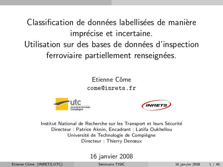 Classification de donn´es labellis´es de mani`re                                e          e         e                     ...