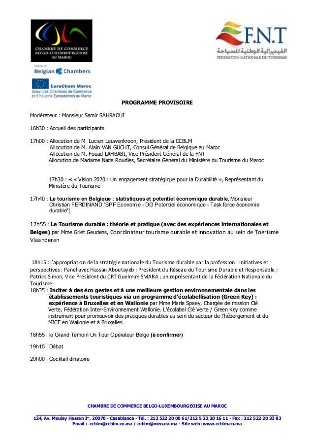 S minaire tourisme durable chambre de commerce belge for Chambre de commerce ci