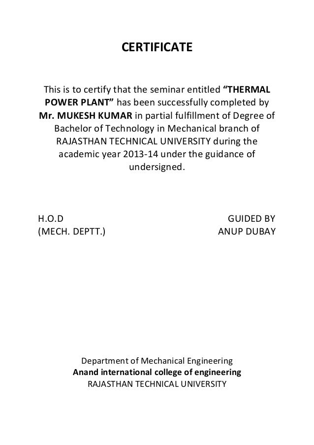 Report on thermal power plant certificate yadclub Gallery